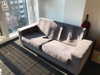 GREY 3 SEATER SOFA AND ARMCHAIR- GOOD CONDITION
