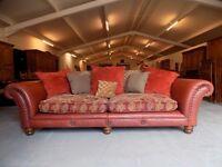 Beautiful Red Leather & Fabric Tetrad Eastwood Grand Sofa