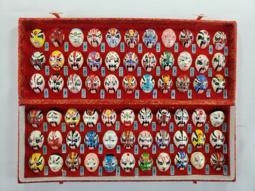 Hand Painted Chinese Opera Facial Makeup Set of 66 Miniature Masks & Box Beijing