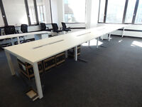 White bench desking for 8 people