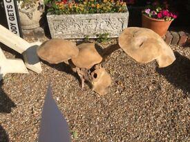 Various Solid Wood Carved Mushrooms