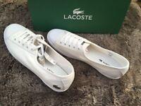 Womens Lacoste lace up pumps, white, size 6.