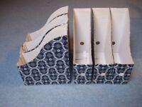 Ikea blue & white magazine files x6