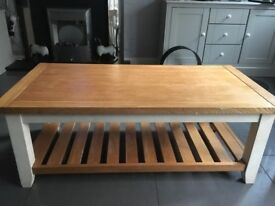 Solid oak coffee table and solid oak nest of tables