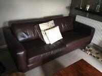 John Lewis Dark Brown Real Leather 3-seater Sofa's (x2)