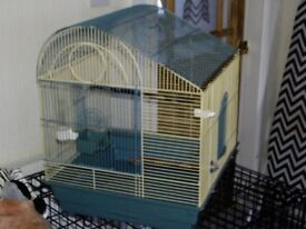 Bird Cage for sale ideal for Parakeets and Lovebirds, Canarys, Finches, in Blue and Cream Colour