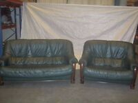 Green Leather Sofas on wooden Base 2 and 3 Seater