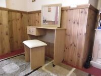 Dressing Table, Stool and Mirror in a Beech Finish