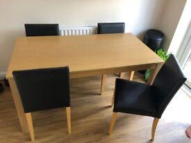 Dining Table (Oak effect) (76cm (H) x 150cm (L) x 80cm (W) plus four leather (black) dining chairs