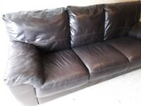 3 Seat Brown Leather Sofa | Good Condition | Extremely Comfortable
