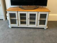 Upcycled grey solid wood tv unit