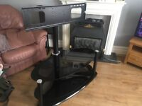 Very Large TV stand curved glass swivells with bracket
