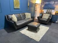 Sold Sofology grey/brown leather suite 3 seater sofa and chair and pouffe