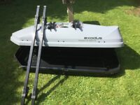 Exodus 470 litre Roof Box with bars and fixings.