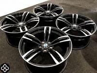 "NEW BMW M4 STYLE 19"" ALLOY WHEELS - 5 X 120 - GLOSS BLACK WITH DIAMOND CUT FINISH - Wheel Smart"