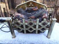 Retro Antique Brass Electric Fire Insert Basket