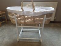 John Lewis Waffle Moses Basket with Rocking stand