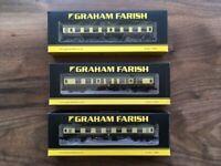 [N Gauge] [SET OF 3] Graham Farish MK1 BR Chocolate and Cream Coaches