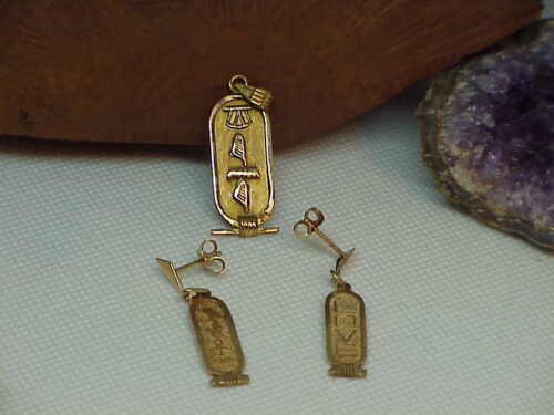 "Antique 14K Solid Yellow Gold Egyptian Cartouche Pendant & Earrings Set ""Love"""