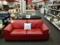 3 seater sofa upholstered in red leather - British Heart Foundation sco39426