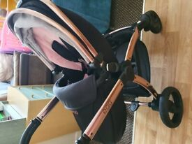 3 in 1 diamond black and rose gold egg travel system