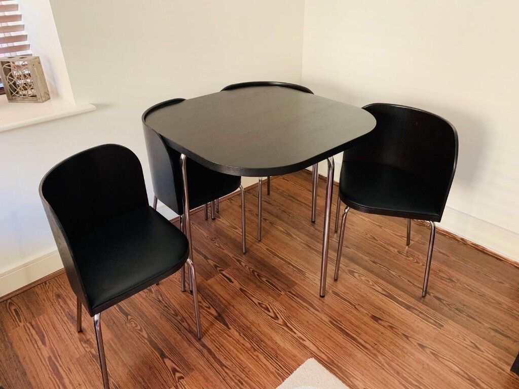 Urgent Black Brown Dining Table And Four Nested Chairs In Mint Condition