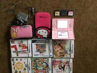 nintendo ds lite pink with 9 games charger ect