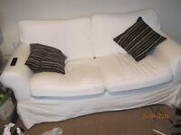 2 seater Ikea sofa with matching armchair - also have blue covers