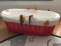 Moses Basket (Little Bird) & 2x stands. One static, one rocking. £40