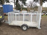 FULLY GALVANISED 8 X 3-6 CAGED TRAILER 1300KG BRAKED WITH ALLOY RAMPTAIL..