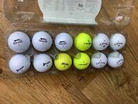 Dozen pre owned Golf Balls Srixon, Callaway etc in good condition