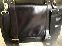 QUALITY, OSBORNE BLACK LEATHER (NOT FAUX/BONDED) BRIEFCASE, BRAND NEW