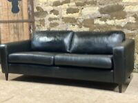 John Lewis Black Leather Sofa