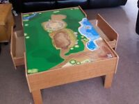 Kids wooden train table with draws