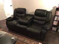 Black faux leather 2 and 3 seater sofas