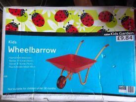 Brand new wheel barrow kids children garden toys summer gardening