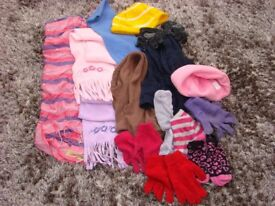 Kids Scarves, hat & gloves bundle. Pretty items. all vgc. can post or collect from torquay.
