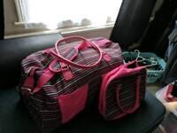 Pink striped luggage set