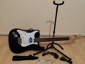 ((Nearly New)) Encore electric guitar full package amplifier, stand and tuner (left-handed )