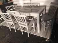 GREY SOLID WOOD & GRANITE TABLE + 6 CHAIRS