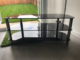 Black Glass and Chrome 3 tier TV Stand