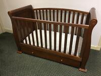 Cot, Baby Dresser and Wardrobe (Sleigh furniture)