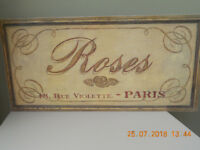 WOOD BLOCK PICTURE - Looks like a vintage flower shop sign from Paris