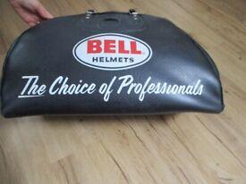 Black leather motorbike helmet bag