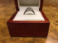 Diamond Ring - Platinum, Princes cut shape with 3 diamonds - Engagement, Wedding