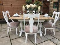 Vintage Shabby Chic Rustic Dining Table & 4 Chairs