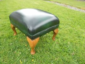 Chesterfield Green Leather Studded Poufee