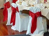 Satin chair sashes, hand made beautiful RED SATIN.