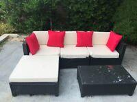 4 Piece Rattan Effect Corner Sofa