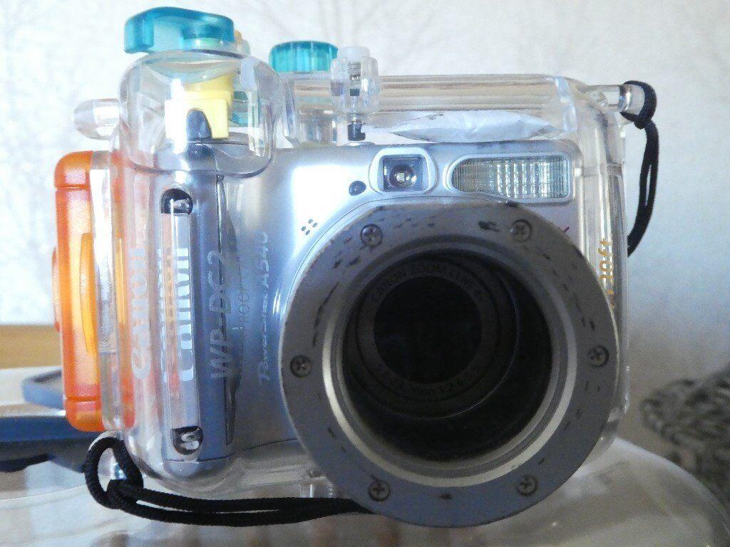 Canon A540 Digital Camera C W WP DC2 U Housing And Tray Strobe